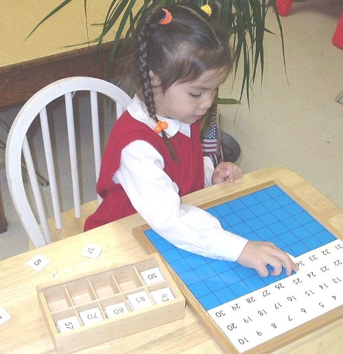 Girl Practicing Numbers
